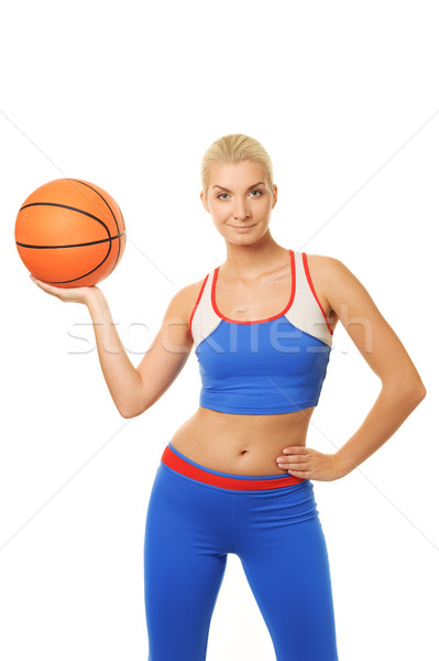 Stockfoto: Portret · vrouw · Blauw · bal · opleiding