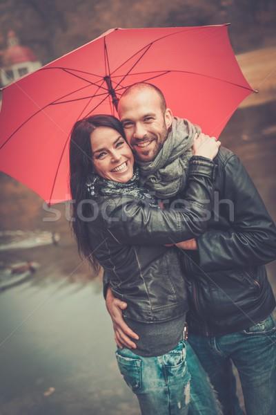 Boldog középkorú pár esernyő kint gyönyörű Stock fotó © Nejron