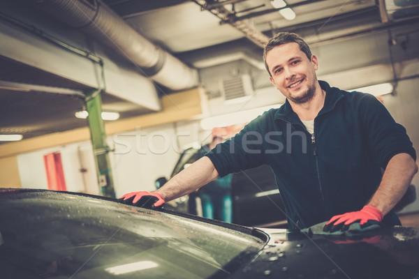 Vrolijk werknemer auto car wash business gelukkig Stockfoto © Nejron