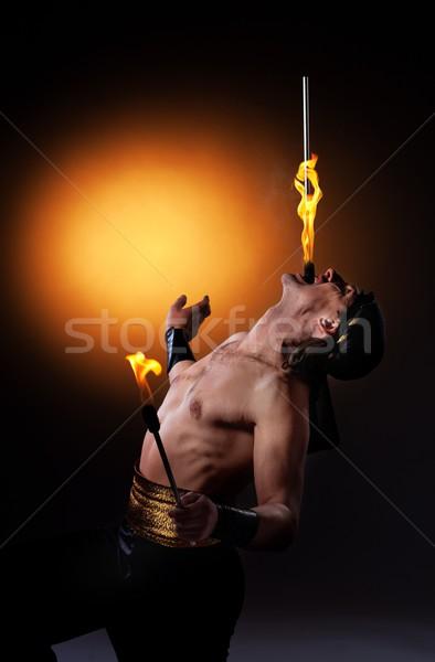 Fogo mostrar corpo laranja boca retrato Foto stock © Nejron