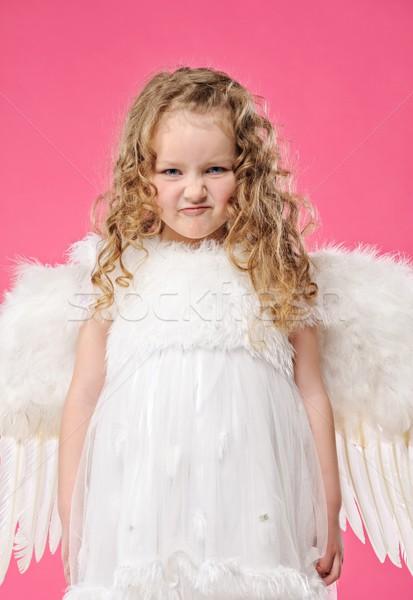 Stock fotó: Kicsi · angyal · lány · készít · vicces · arc · arc