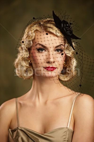 女性 レトロな 肖像 顔 ファッション 黒 ストックフォト © Nejron
