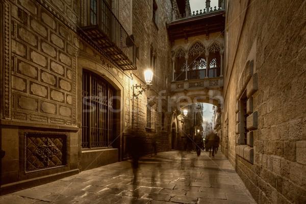 Híd Barcelona város utca ablak művészet Stock fotó © Nejron