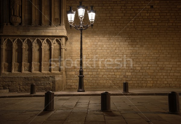 Beautiful streetlight in front of old building in Barcelona Stock photo © Nejron