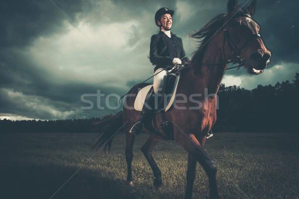 Mooi meisje vergadering paard buitenshuis humeurig hemel Stockfoto © Nejron