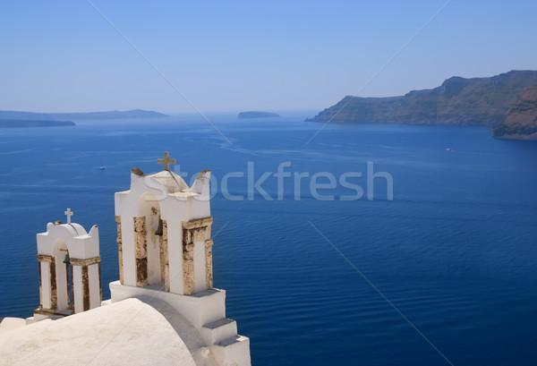 Ortodoks kilise santorini adası ada Yunanistan Bina Stok fotoğraf © Nejron