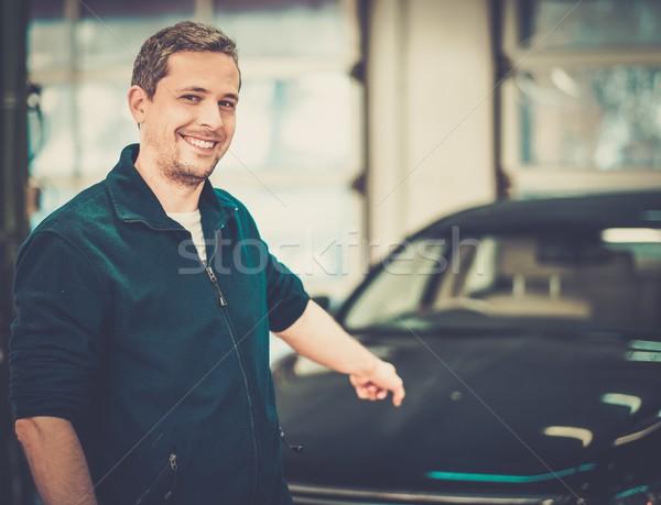 Alegre homem lava-jato negócio carro feliz Foto stock © Nejron