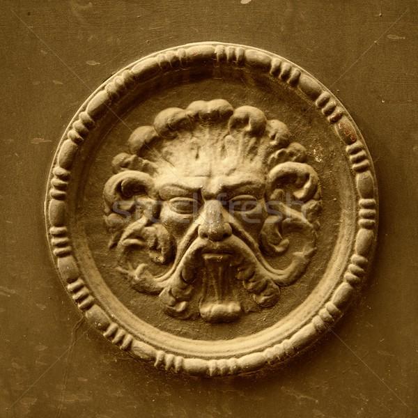 Antica scultura faccia muro occhi design Foto d'archivio © Nejron