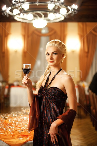 Mooie dame banket wijn mode achtergrond Stockfoto © Nejron