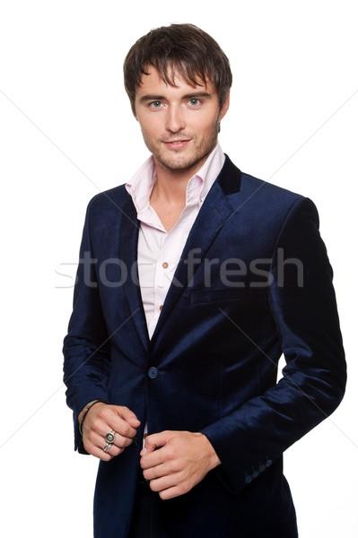 Stok fotoğraf: Yakışıklı · genç · mavi · ceket · moda · erkek