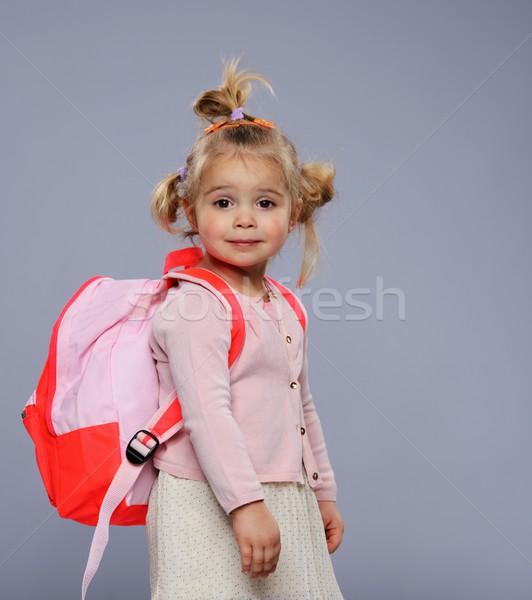 Stockfoto: Grappig · weinig · schoolmeisje · rugzak · geïsoleerd · grijs