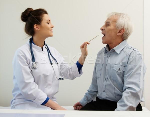 Idős férfi iroda találkozó munka egészség Stock fotó © Nejron