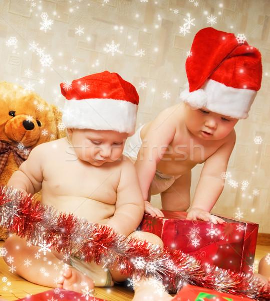 Stok fotoğraf: Iki · çok · güzel · çocuklar · Noel