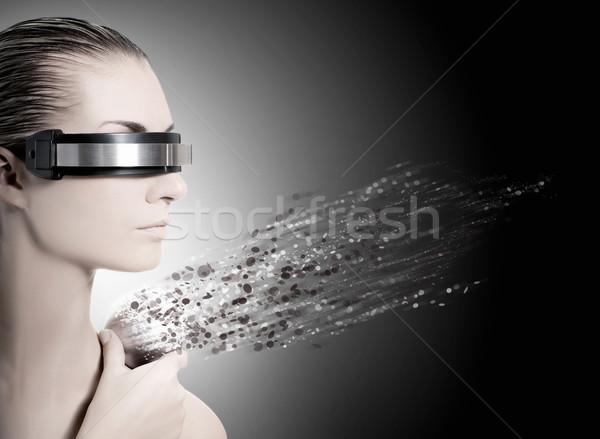 Kobiet robot nanotechnologia kobieta dziewczyna twarz Zdjęcia stock © Nejron
