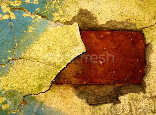 Stock fotó: Absztrakt · grunge · textúra · fal · festék · fekete · tégla