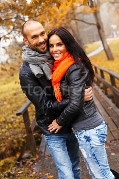 Gelukkig paar buitenshuis mooie najaar Stockfoto © Nejron