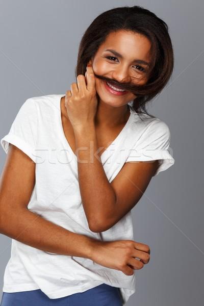 小さな 黒人女性 孤立した グレー 笑顔 ストックフォト © Nejron