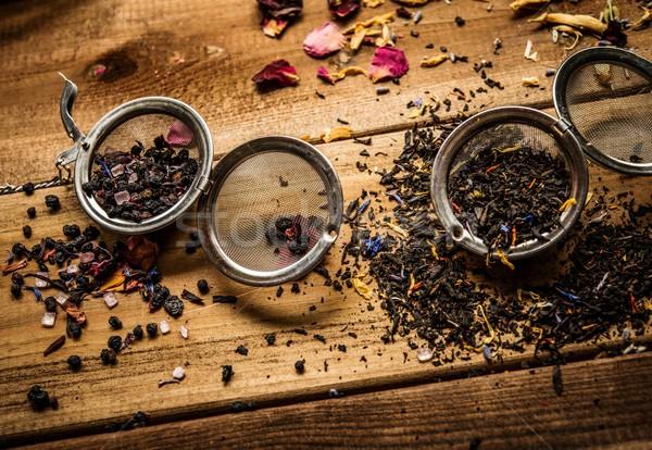 Té aromático mesa de madera flor fondo mesa Foto stock © Nejron