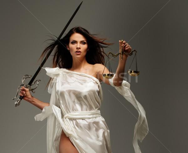 Foto stock: Deusa · justiça · balança · espada · branco · estátua