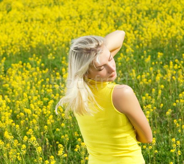 Belle jeune femme détente champ de fleurs fille herbe Photo stock © Nejron