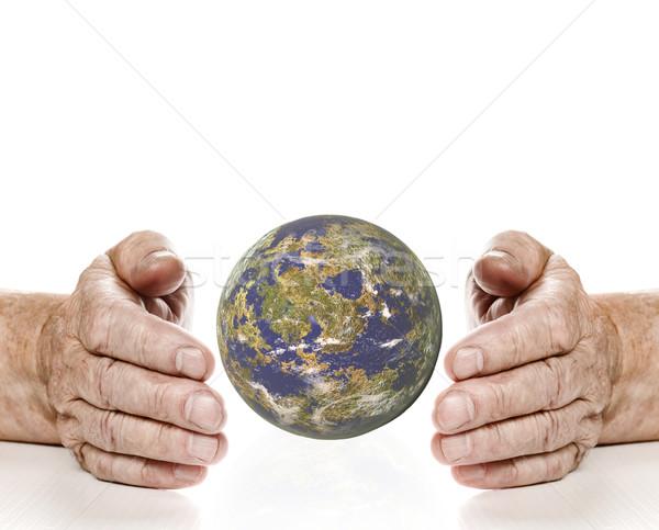 Oude planeet geïsoleerd witte man abstract Stockfoto © Nejron