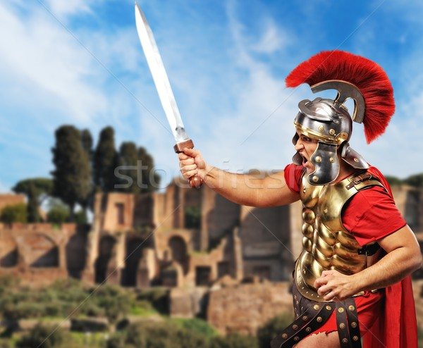 Roman legionary soldier in front old city of Rome Stock photo © Nejron