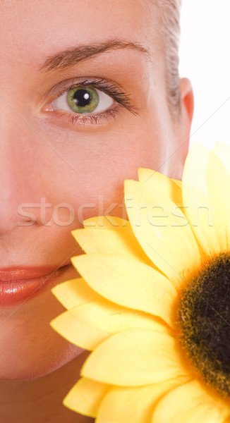 Fille yeux verts tournesol oeil visage amour Photo stock © Nejron