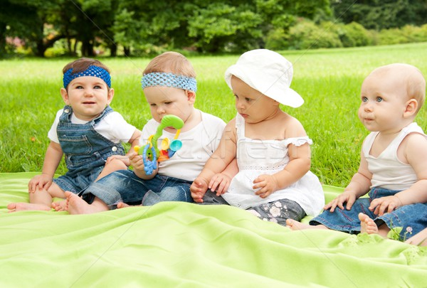 Group of babies outdoors. Stock photo © Nejron