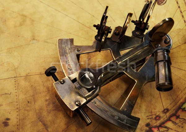 Sextant on an old map Stock photo © Nejron