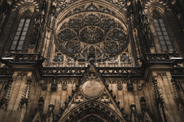 Facade architecture details of St. Vitus cathedral in Prague, Czech Stock photo © Nejron