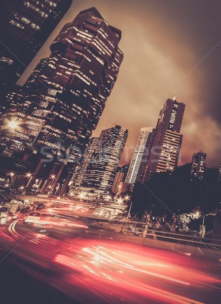 Snel bewegende auto nacht moderne stad Stockfoto © Nejron