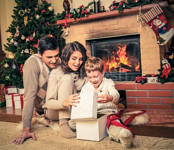 Család kandalló karácsony díszített házbelső ajándék doboz Stock fotó © Nejron