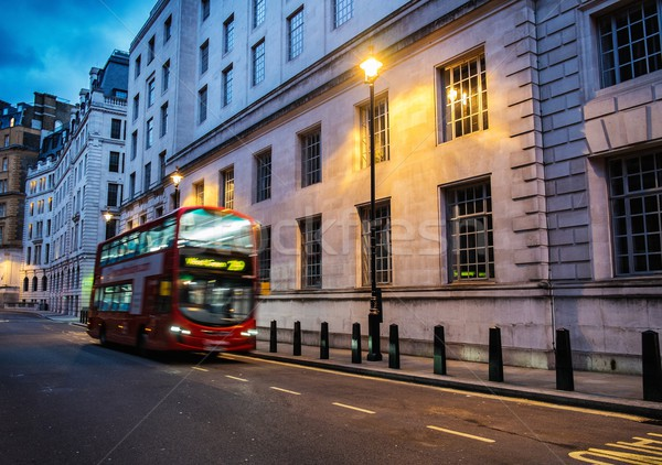 Bus on a streets of London at dusk Stock photo © Nejron