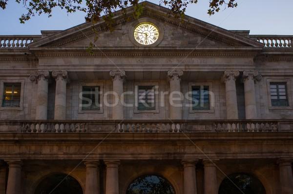 Régi épület arany óra homlokzat fal otthon Stock fotó © Nejron