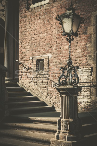 Steps with vintage lamppost in Gdansk, Poland Stock photo © Nejron