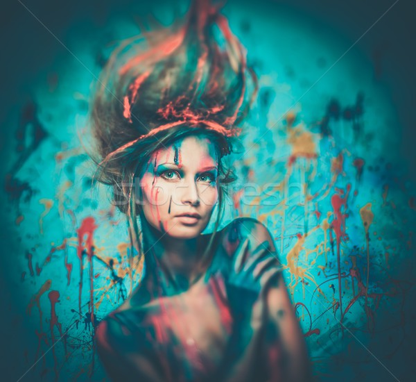Young Woman Muse With Creative Body Art And Hairdo Stock Photo C Andrejs Pidjass Nejron 4335572 Stockfresh