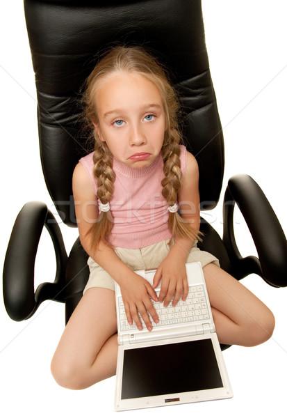 üzücü genç kız dizüstü bilgisayar oturma sandalye ofis Stok fotoğraf © Nejron