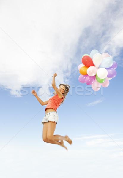 ストックフォト: 幸せな女の子 · カラフル · 風船 · パーティ · 子 · 青