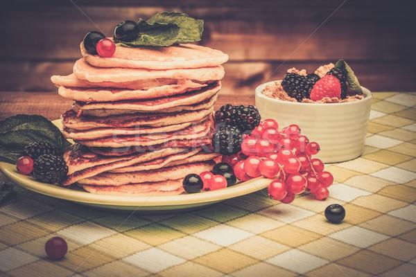 Sağlıklı kahvaltı krep taze karpuzu müsli Stok fotoğraf © Nejron
