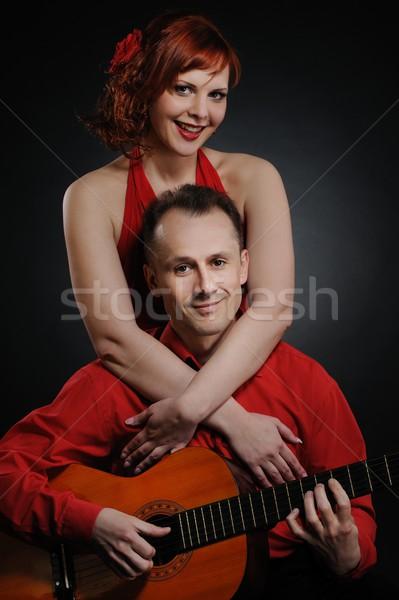 Para gitara miłości człowiek szczęśliwy czerwony Zdjęcia stock © Nejron