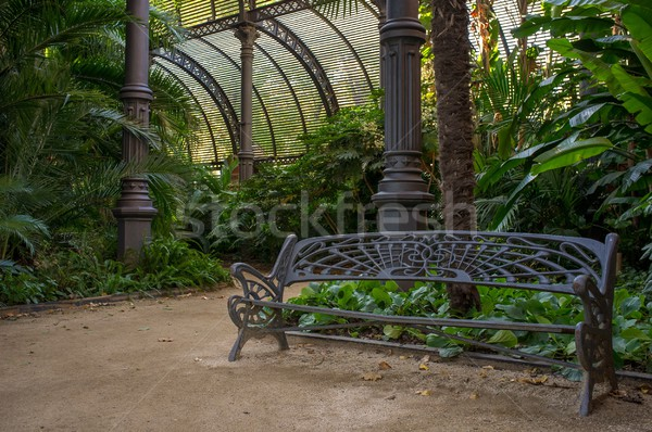 Metal bench in beautiful park, Barcelona Stock photo © Nejron