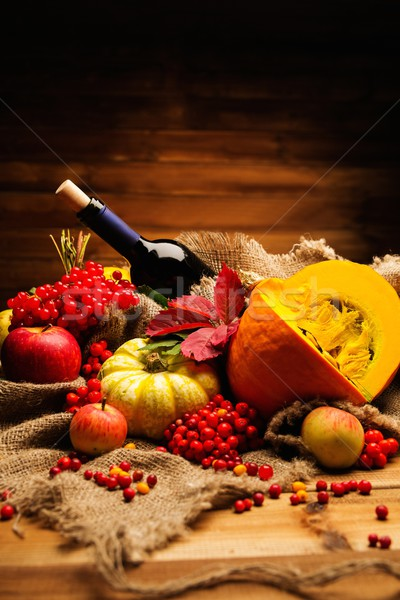 Thanksgiving day autumnal still life with bottle of wine  Stock photo © Nejron