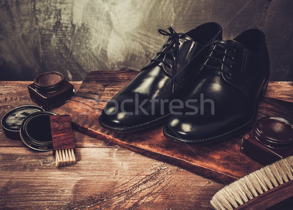 Shoe care accessories on a wooden table  Stock photo © Nejron