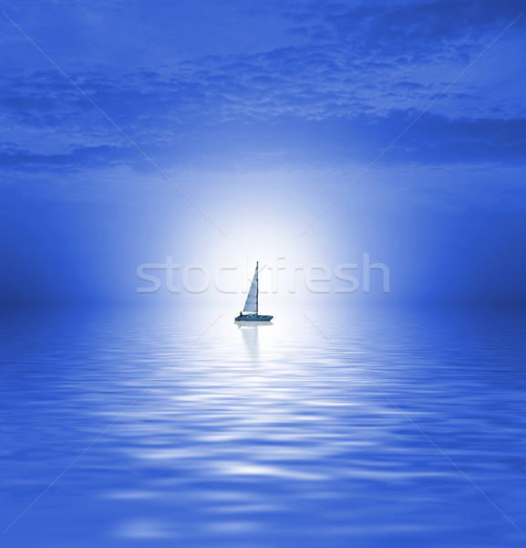 Zee schilderachtig wolken abstract maan achtergrond Stockfoto © Nejron