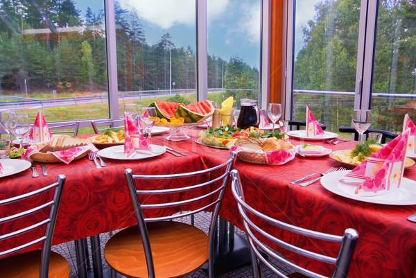 Przydrożny restauracji lasu szkła tabeli Zdjęcia stock © Nejron