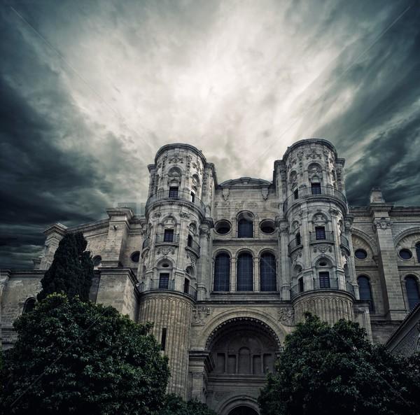 嵐の 空 大聖堂 マラガ スペイン 市 ストックフォト © Nejron