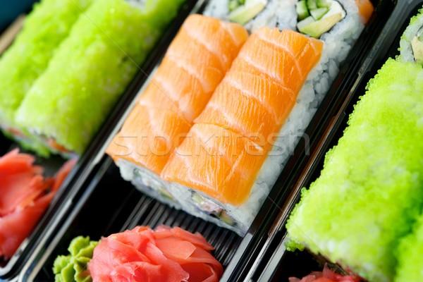 Szett különböző szusi hal zöld japán Stock fotó © Nejron