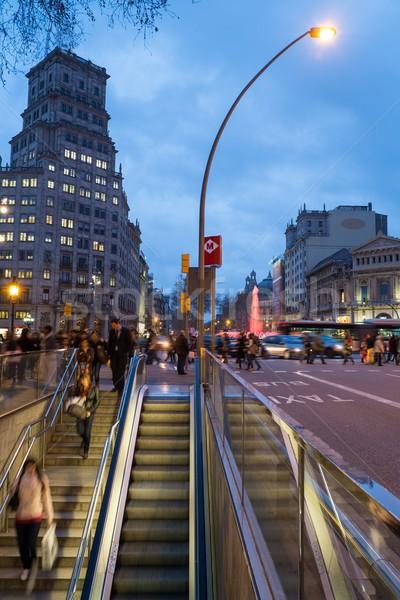 известный Барселона сумерки бизнеса автомобилей ходьбе Сток-фото © Nejron