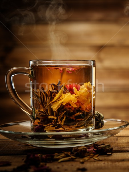 Glas beker thee bloem houten achtergrond Stockfoto © Nejron