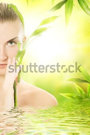 красивой зеленый бамбук листьев женщину Сток-фото © Nejron